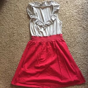 Cute casual dress- gray and red